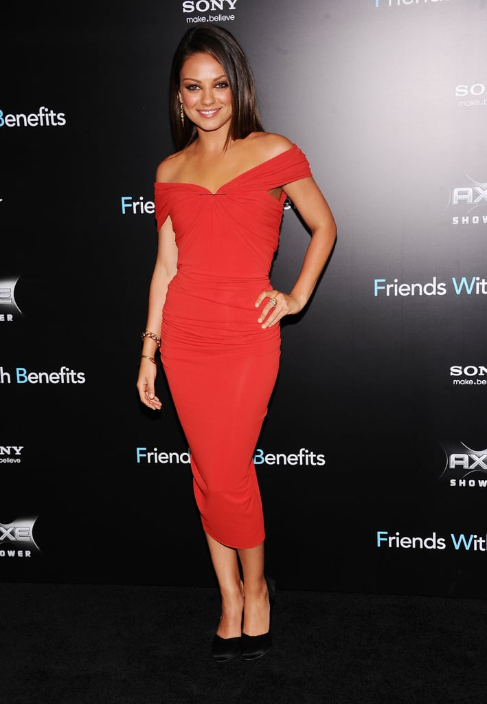 Mila Kunis in a red dress at Friends With Benefits premiere in NYC.