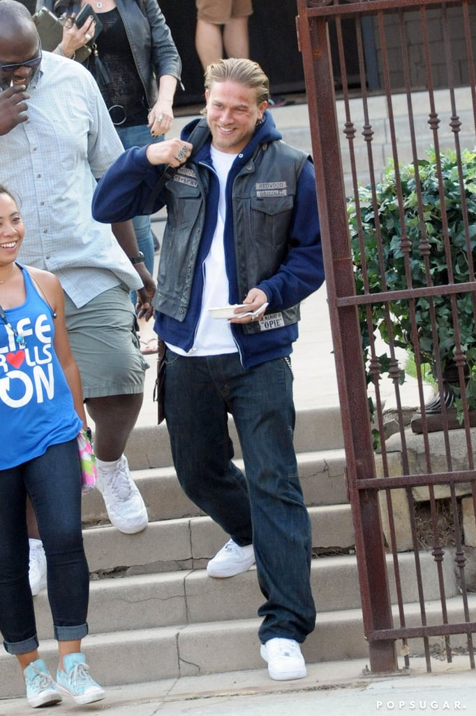 Charlie Hunnam was all smiles on the set of Sons of Anarchy in LA.