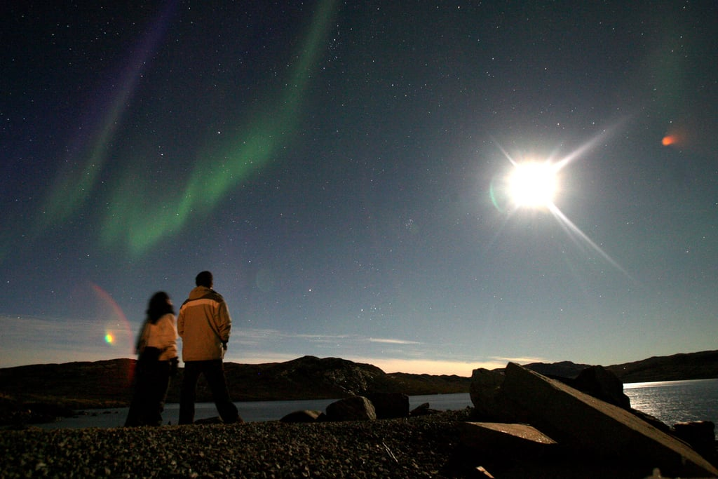 In August 2007, tourists checked out the aurora borealis in Greenland.