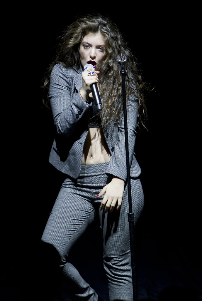 Lorde bared her midriff during a concert in Brisbane, Australia, on Sunday.