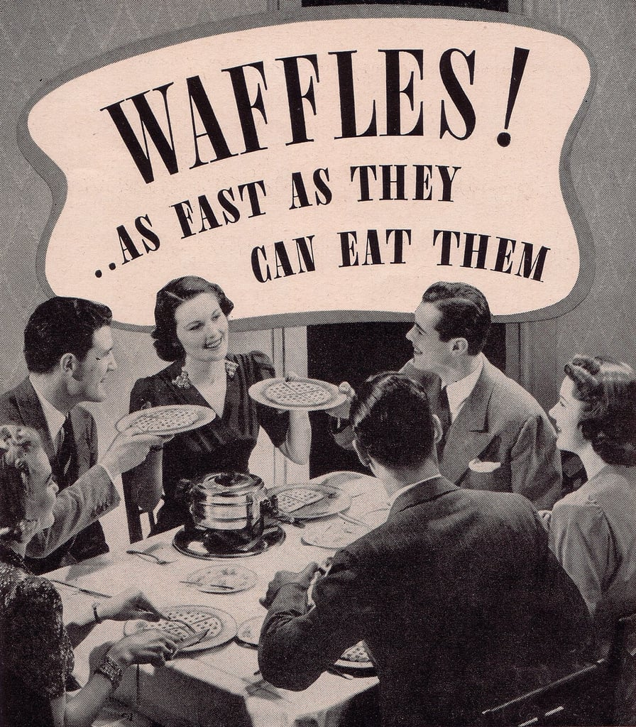 Was this waffle party the retro version of mimosa brunch?