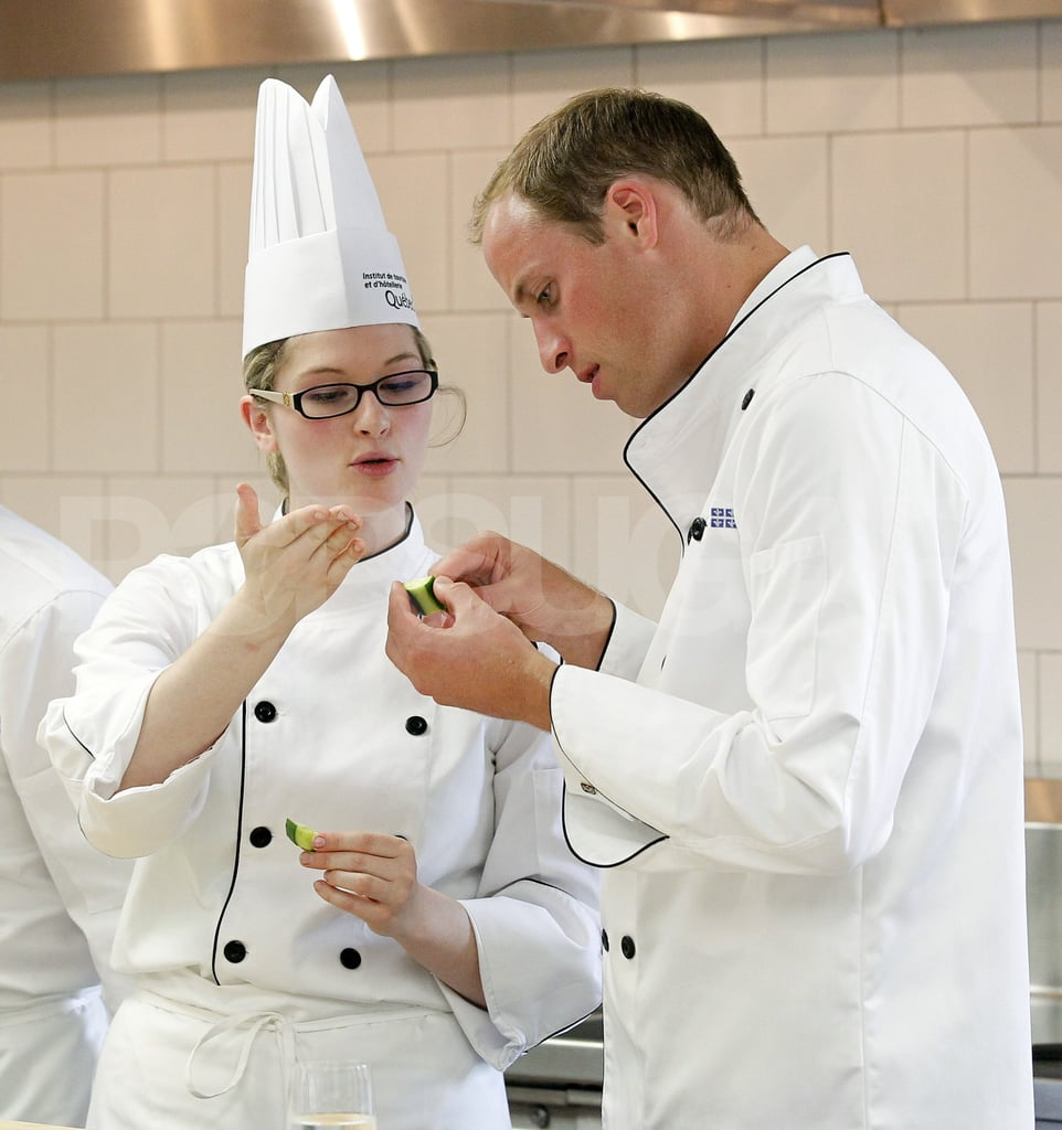 On July 2, Prince William got cooking tips from chefs at the Institute of Tourism in Montreal.