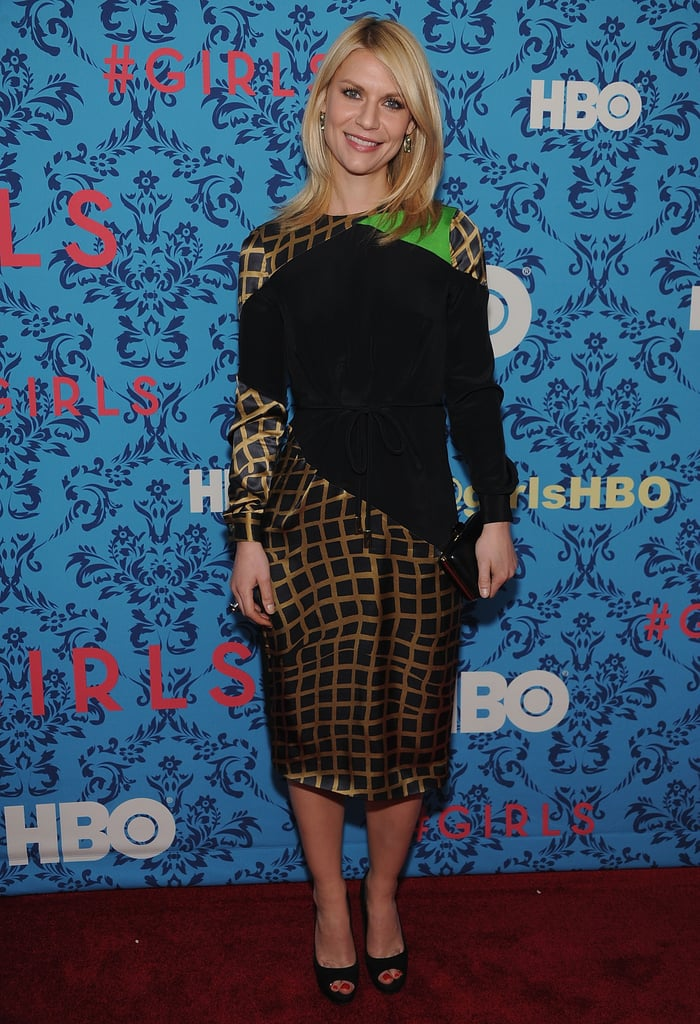 Claire Danes wore a geometric dress by Preen to the premiere of HBO's Girls in NYC.