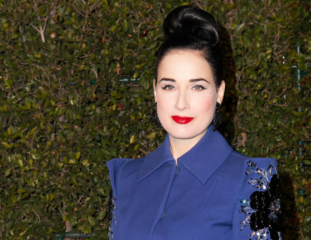 It's rare you see Dita Von Teese in anything other than vintage waves, but this updo modernizes her retro style considerably.