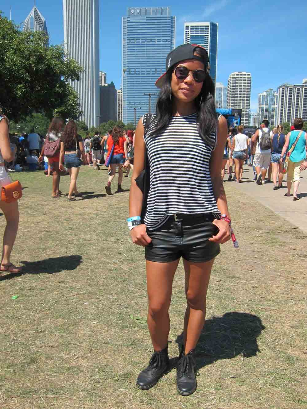 Forget flower crowns and bohemian ruffled dresses: for Jamie, this festival was all about street wear, from leather shorts and backward Chicago Bulls baseball caps to Doc Martens.