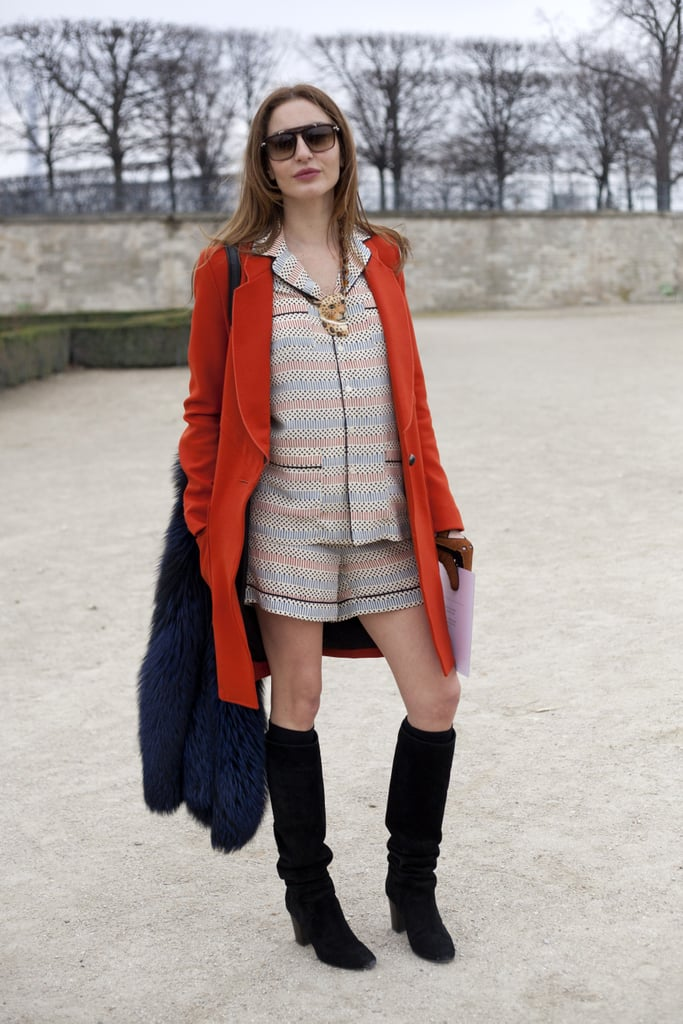 Pyjama dressing gets a luxe finish with a coloured fur and knee-high boots.