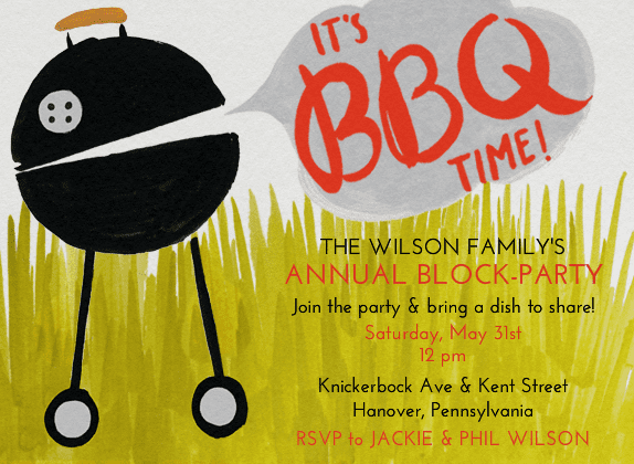 A grill may not always have much to say, but it definitely does with this quirky invitation (price upon request).
