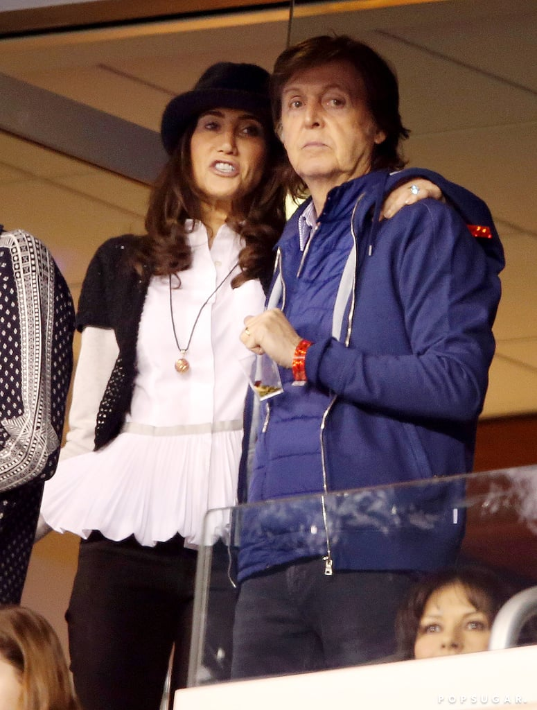 Paul McCartney and Nancy Shevell watched the Super Bowl from a private box.