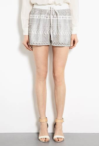 Raoul Lacey Leather Laser Cut Drawstring Shorts