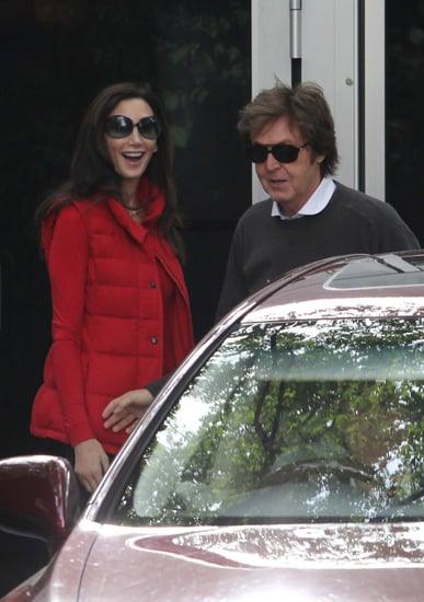 Nancy Shevell and Paul McCartney leave home for their honeymoon.