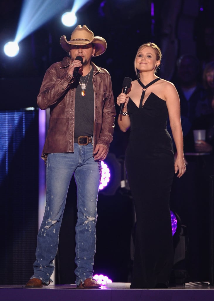 Jason Aldean and Kristen Bell cohosted the CMT Awards.