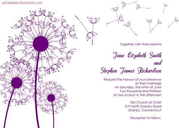 dandelion wedding invitation 72 beautiful wedding invite printables