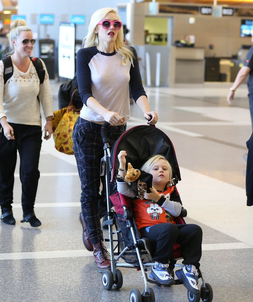 Gwen Stefani wore printed pants in London with her son Zuma.