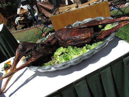Whole-roasted goat.