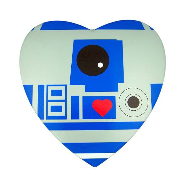 How geeky sweet is this R2D2 box ($10) filled with gummy heart candy? One for him, one for you.