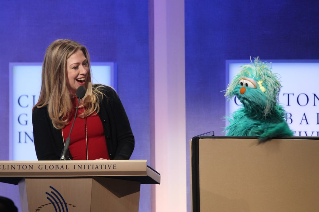 Chelsea Clinton got some help from Rosita from Sesame Street.