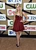 Beth Behrs wore a red dress to the CW, CBS, and Showtime party.