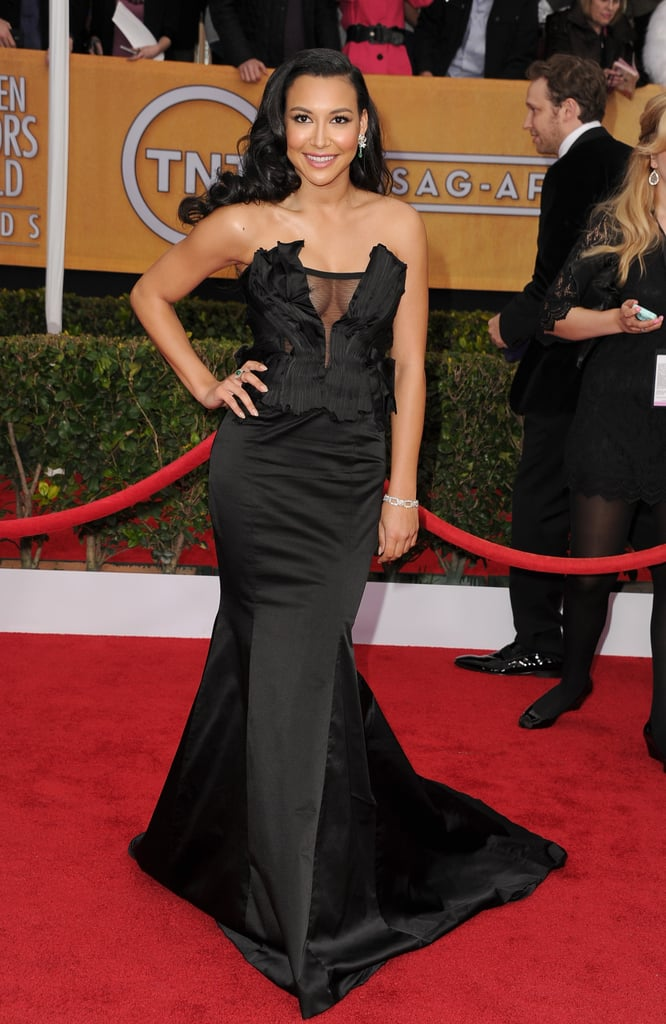 Naya Rivera's Donna Karan Atelier strapless black gown was one of the sexiest of the evening.