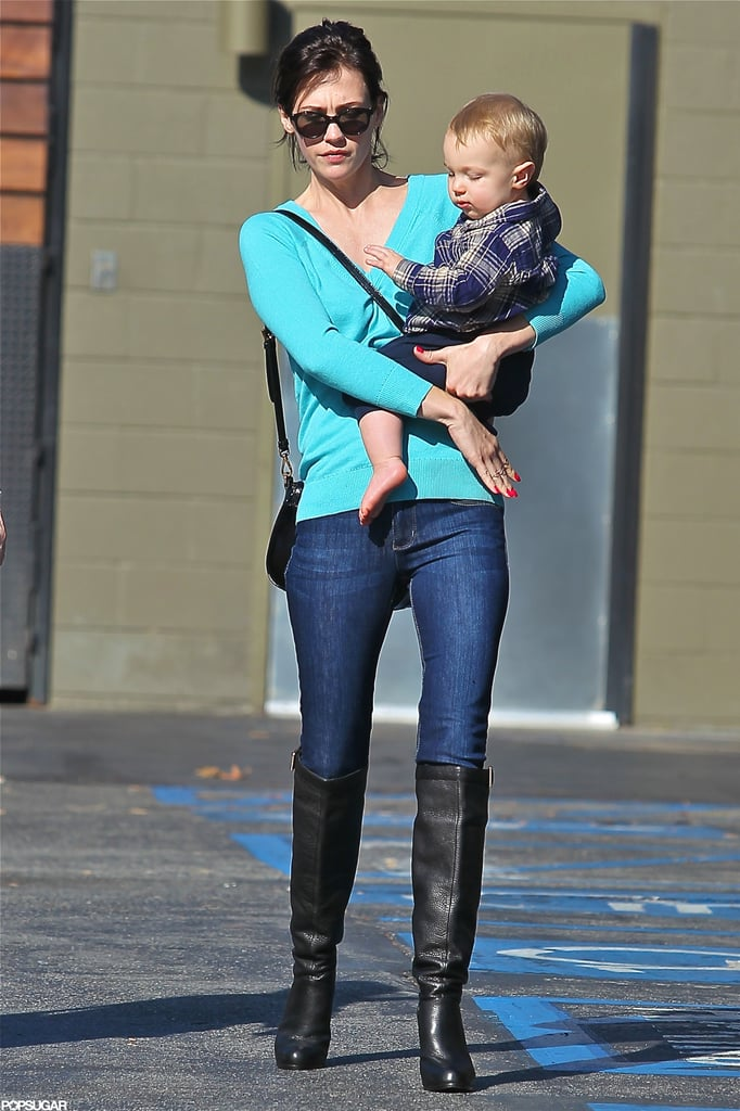 January Jones Steps Out With Xander and New Brunette Locks