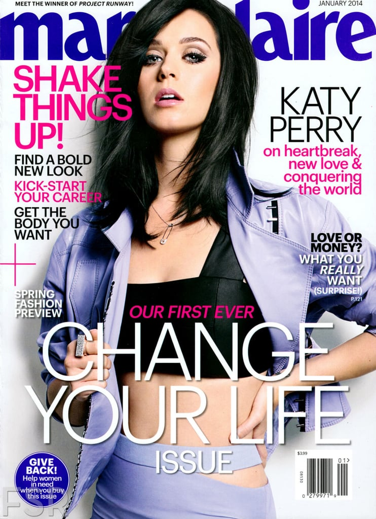 Katy showed some skin on the cover of Marie Claire's January 2014 issue.