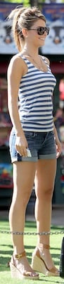 Maria Menounos in 7 For All Mankind Shorts and Tan Wedges