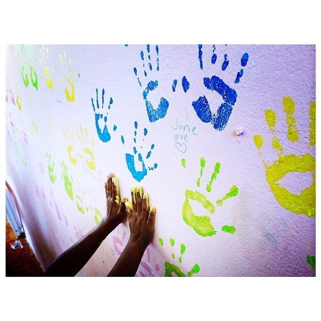 Kendall snapped a photo of a child playing with paint. Source: Instagram user kendalljenner