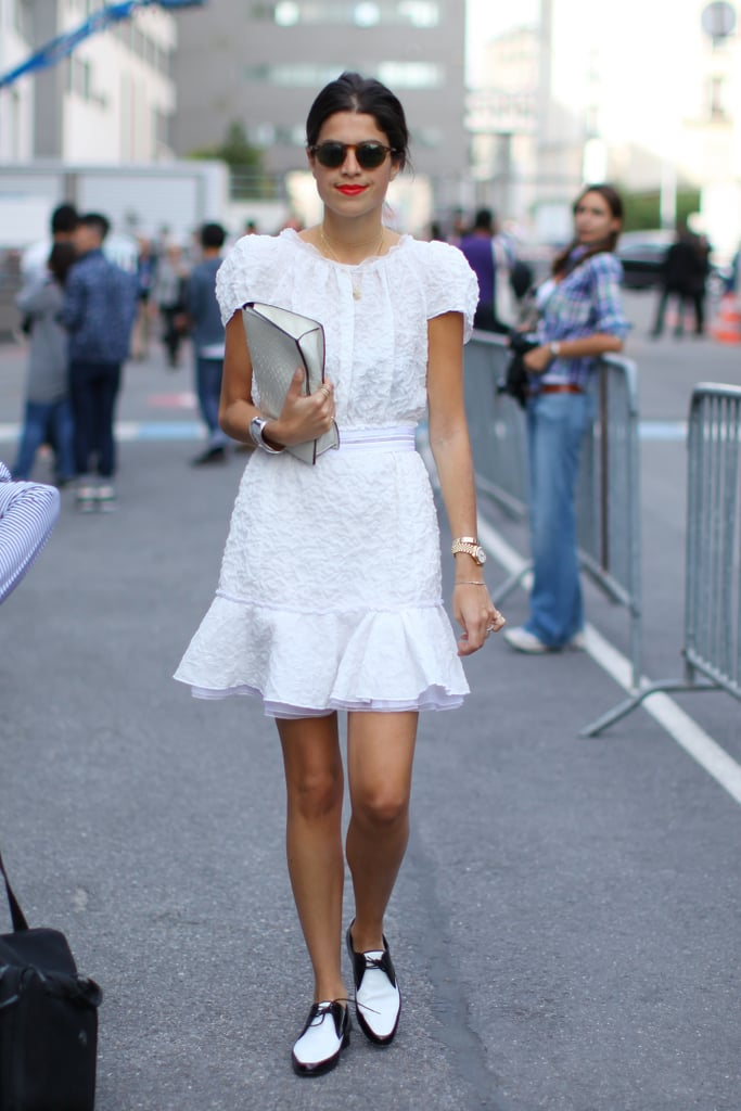 Leandra Medine in Saint Laurent shoes