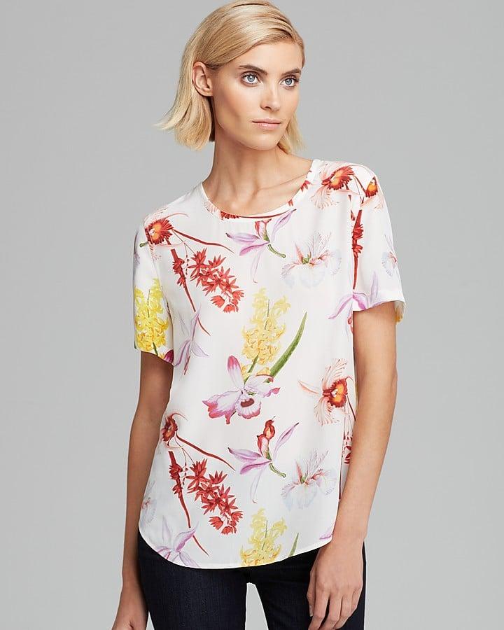 Equipment Riley Endangered Floral Print Silk T-Shirt