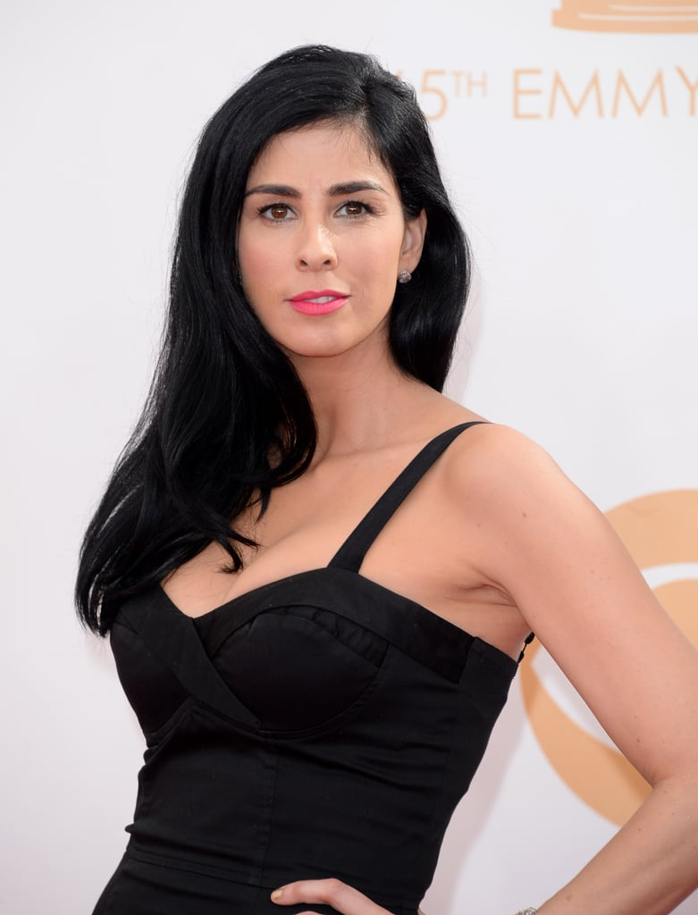 With her inky black tresses and jet-black dress, Sarah Silverman's electric-pink lipstick was a strikingly appropriate choice.