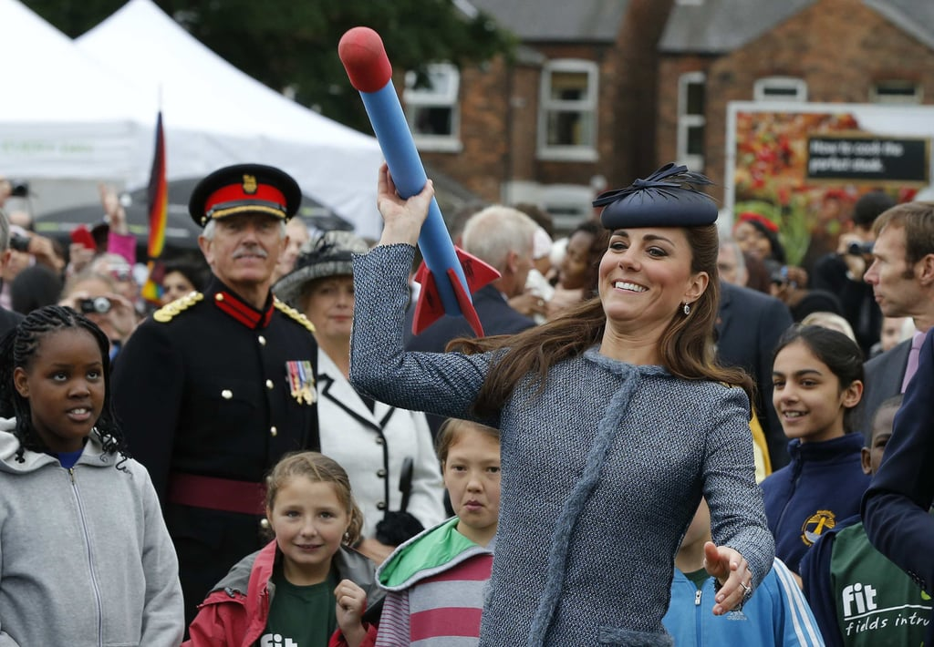 She tried her hand at throwing a foam javelin when she attended a children's sports event at Vernon Park in Nottingham, England, in June 2012.