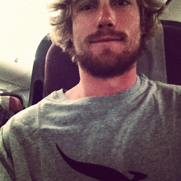 Hayden Quinn returned from the US with a beard and Qantas pyjamas. Source: Instagram user hayden_quinn