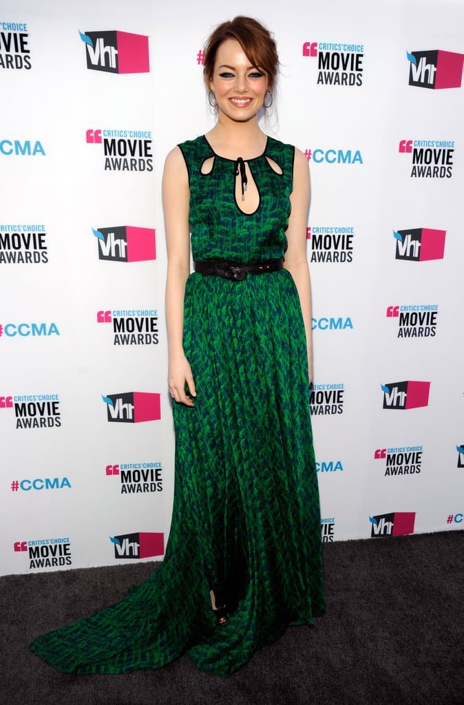 Emma Stone Brings Another Glam Green Look to the Critics' Carpet