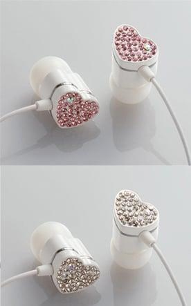 Rhinestone Studded Heart Eardrops - My Geeky Valentine