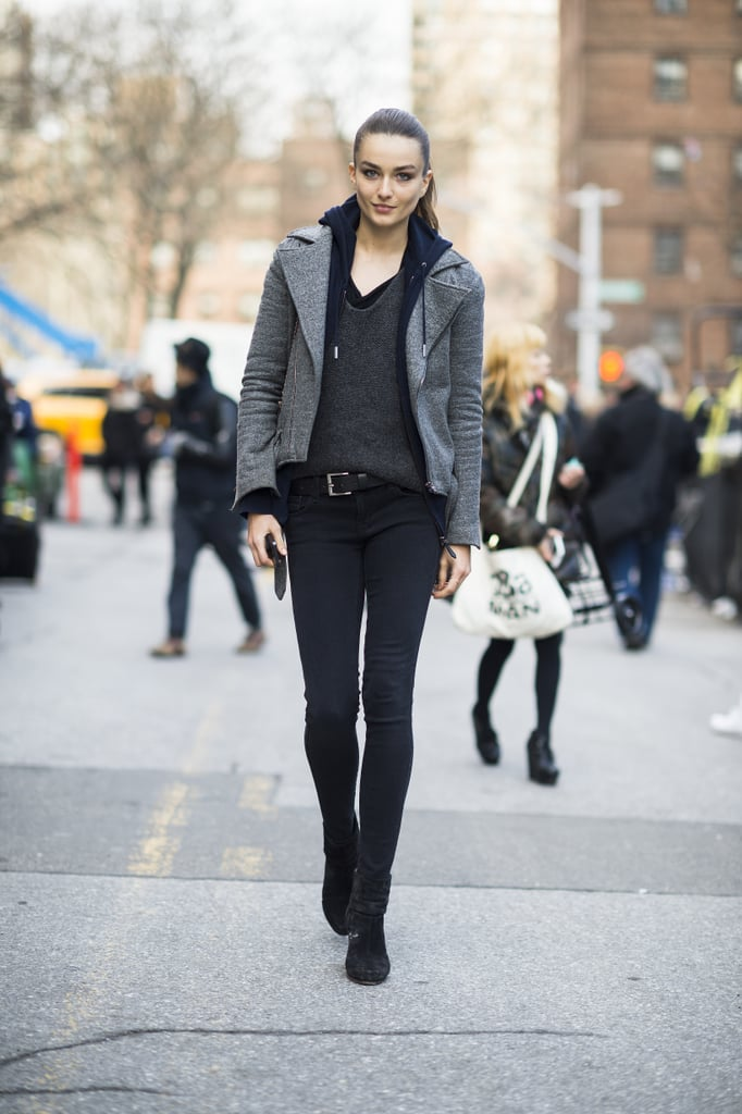 Rather than slick leather, a gray, wool moto jacket lent more warmth to this all-black ensemble. Source: Le 21ème   Adam Katz Sinding
