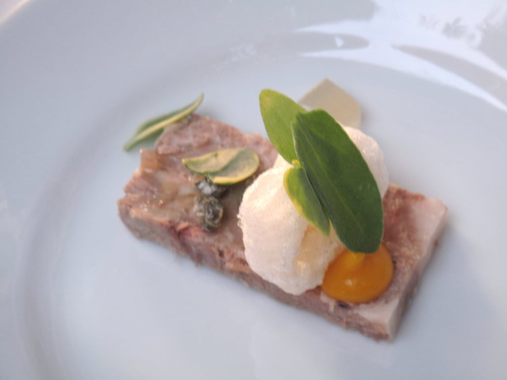 Voltaggio's version of headcheese was dressed with about a thousand small components.