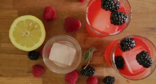 Raspberry, Sage, and Ginger Soda