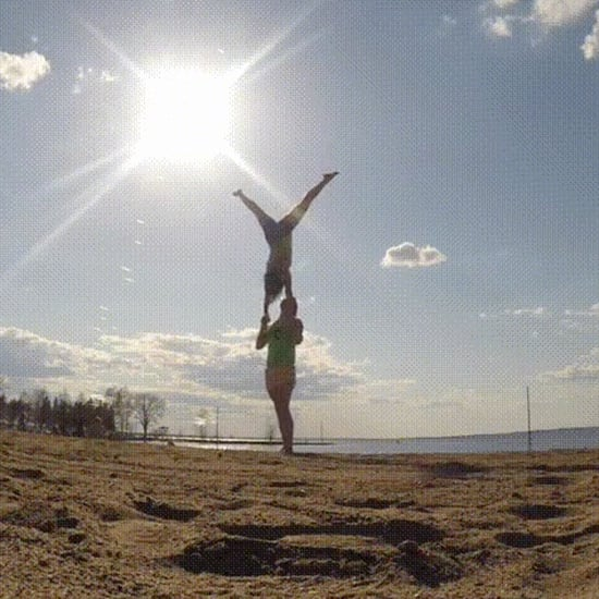 Couple Learns to Do Advanced Handstand Together
