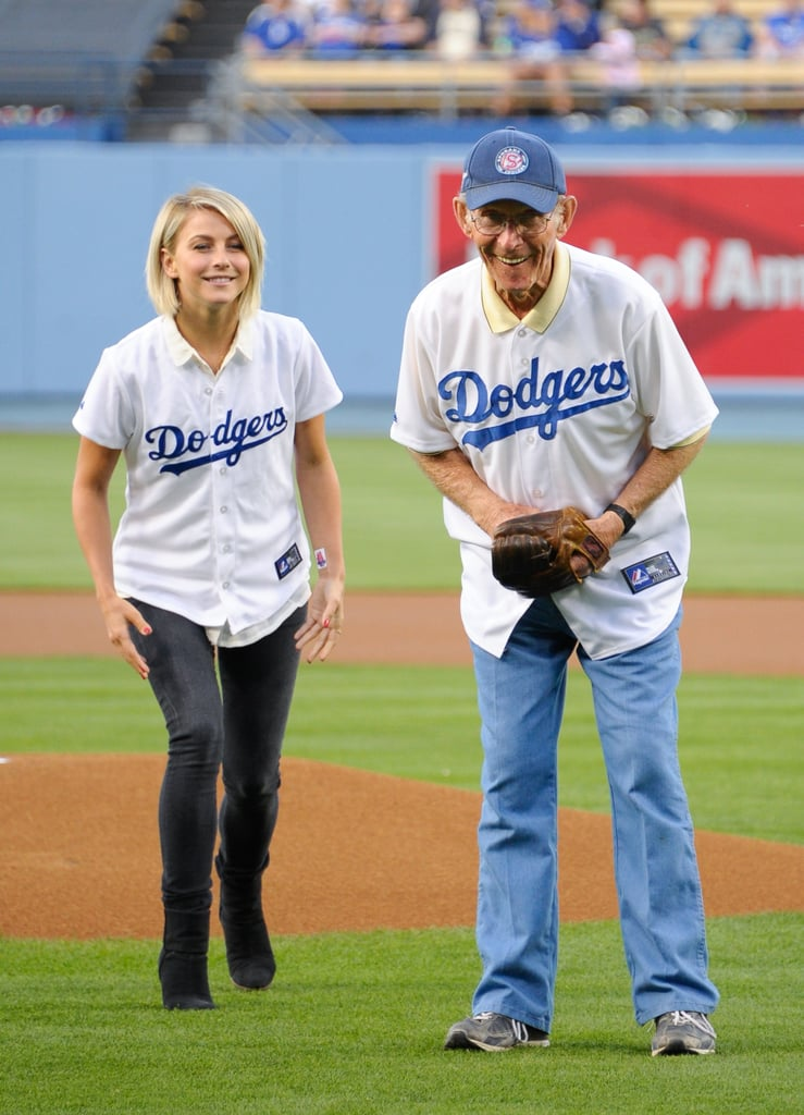 In May 2013, Julianne Hough helped her relative with the first pitch at an LA Dodgers game.
