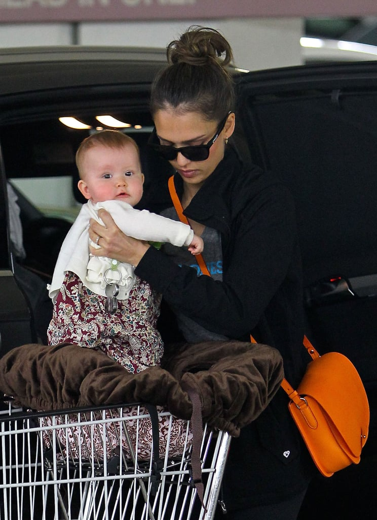 Jessica Alba took Haven Warren out of the shopping cart and put her in the car while leaving Whole Foods in LA.