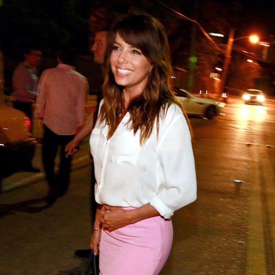 Eva Longoria Bright-Pink Pencil Skirt Outfit