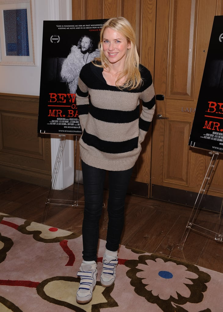 Naomi Watts matched a cozy striped sweater and black pants with two-tone Isabel Marant kicks at the Beware of Mr. Baker screening in NYC.