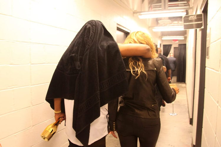 Jay-Z slung his arm over Beyoncé's shoulder after a performance at the Barclays Center in October 2012. Source: Tumblr user iambeyonce