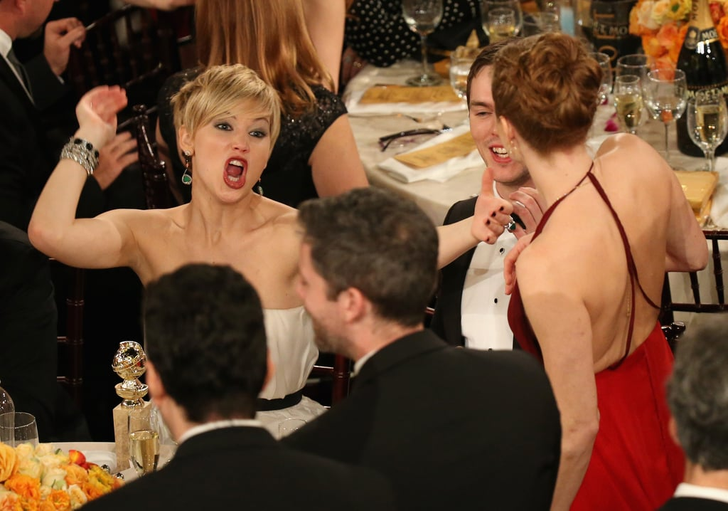 Jennifer Lawrence couldn't contain her excitement when Amy Adams won best actress for American Hustle at the Golden Globes. Source: Christopher Polk/NBC/NBCU Photo Bank/NBC