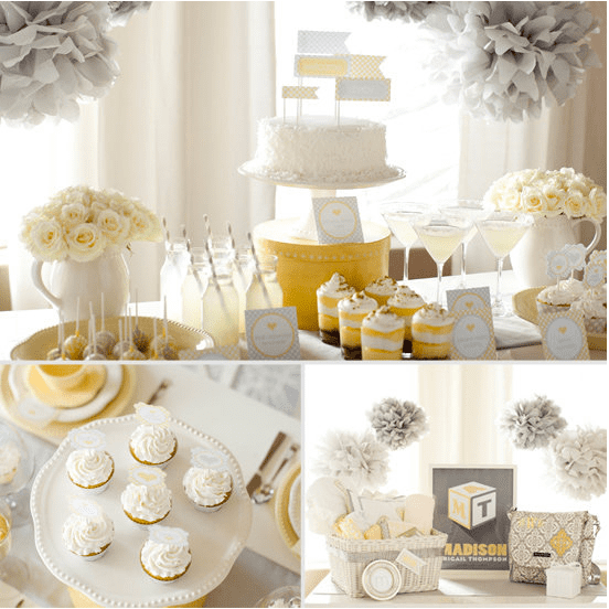 Pale Yellow, Gray, and White