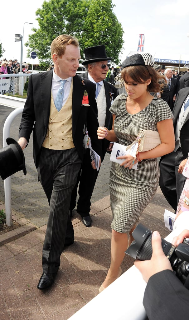 The Earl of Derby and Princess Beatrice of York walked together.