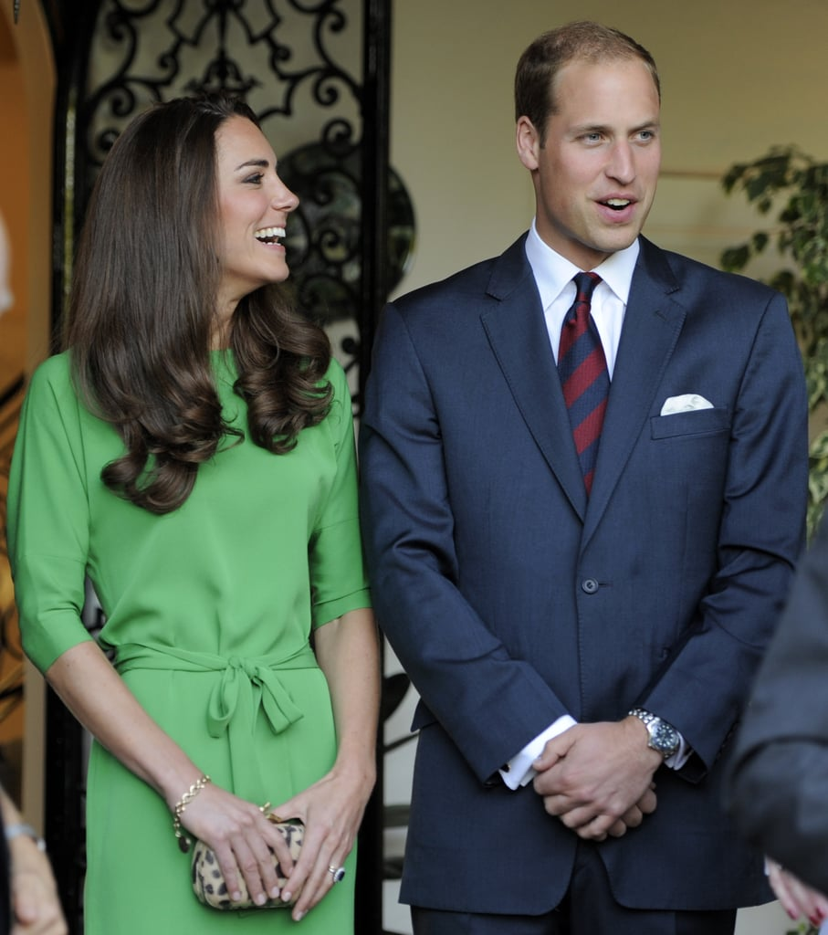 Kate Middleton in green DVF with Prince William.