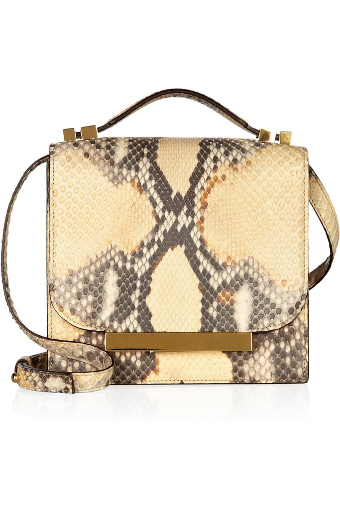 The bag: The Row Python Shoulder Bag ($5,100) Why we love it: After taking home the CFDA prize for Womenswear Designer of the Year, Mary-Kate and Ashley Olsen have proven their collections are worth investing in. This dressed-up take on the structured satchel is just one of the many covet-worthy items The Row has to offer, but it's up there on our list. The shape makes it a classic, while an exotic finish sets it apart from the rest. And whether you're dressing up or dressed down in jeans, there's no occasion this bag can't handle.