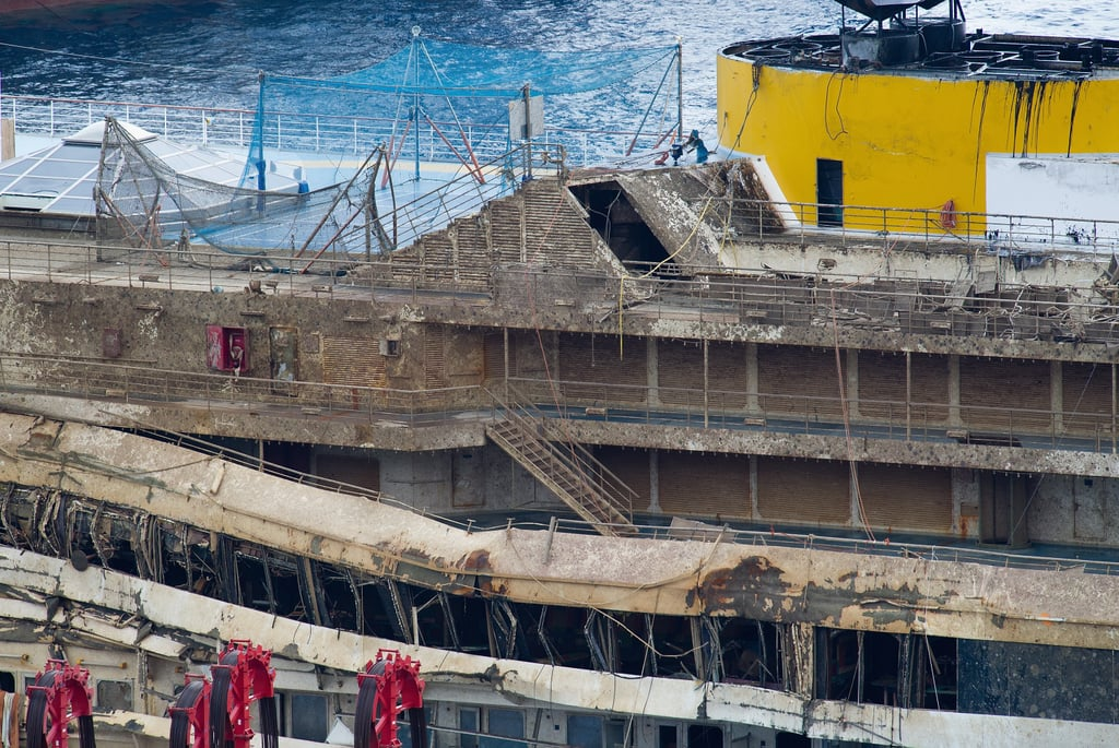 Severe damage could be seen along the ship after it was pulled upright.