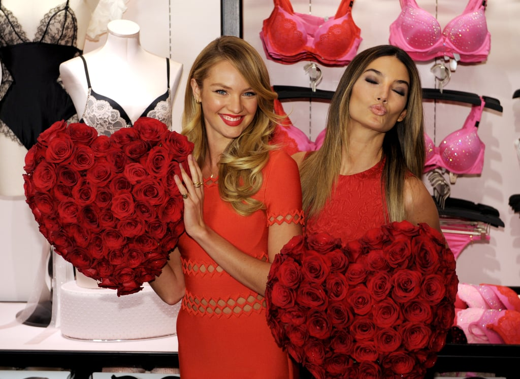 Candice Swanepoel and Lily Aldridge linked up for a Valentine's Day event at Victoria's Secret.