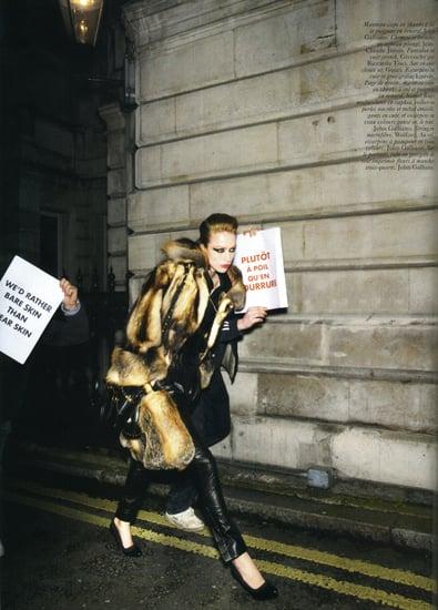 Carine Roitfeld Pelts PETA in Vogue Paris August 2008